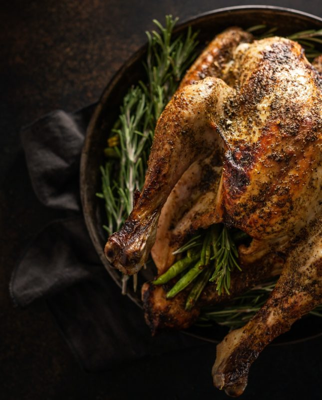 Christmas Turkey with Rosemary on Plate