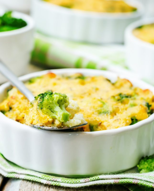 millet casserole with broccoli and cheese
